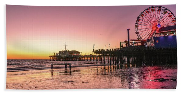 Beach Towel featuring the photograph Red Sunset In Santa Monica by Michael Hope