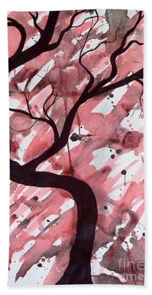 Red Tree Enchantment Beach Towel
