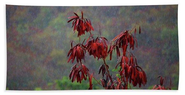 Red Tree In The Rain Beach Towel