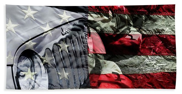 Red White And Jeep Beach Towel