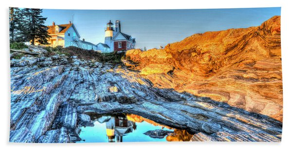 Reflections At Pemaquid Point Beach Towel