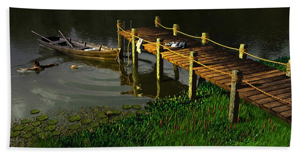 Reflections In A Restless Pond Beach Towel