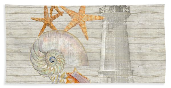 Refreshing Shores - Lighthouse Starfish Nautilus N Conch Over Driftwood Background Beach Towel