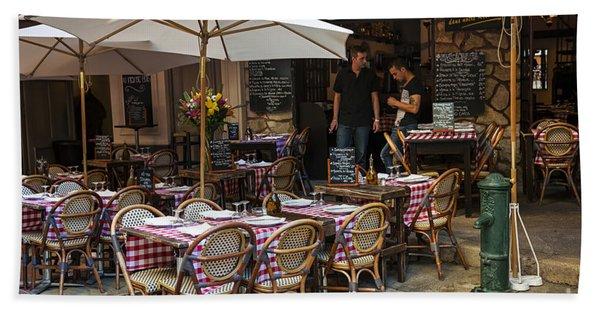 Restaurant On Rue Pairoliere In Nice Beach Towel