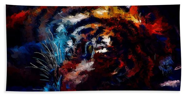 Beach Towel featuring the painting Resting Tiger by Mark Taylor