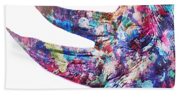 Beach Towel featuring the painting Rhino by Mark Taylor