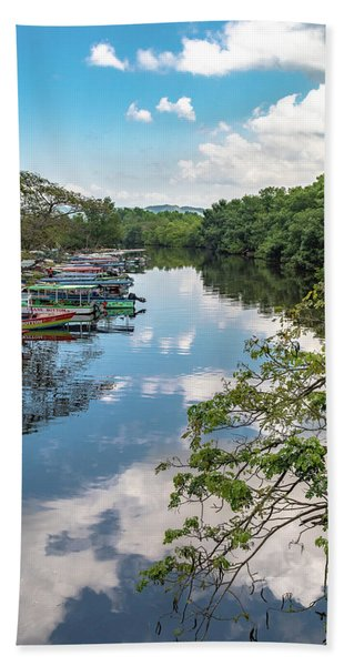 River Boats Docked In Negril, Jamaica Beach Towel