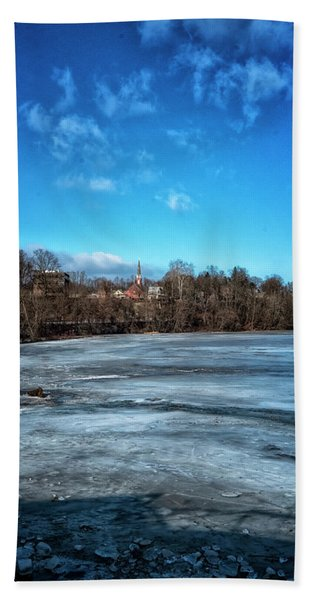 Beach Towel featuring the photograph River Ice by Tom Singleton