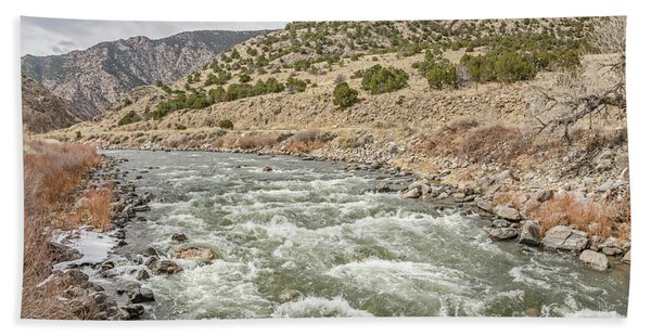 River In The Mountains Beach Towel