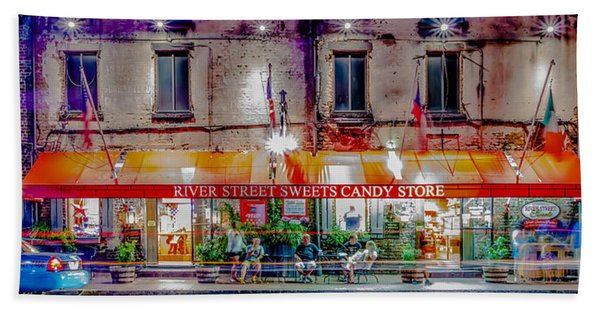 River Street Sweets Candy Store Savannah Georgia   Beach Towel