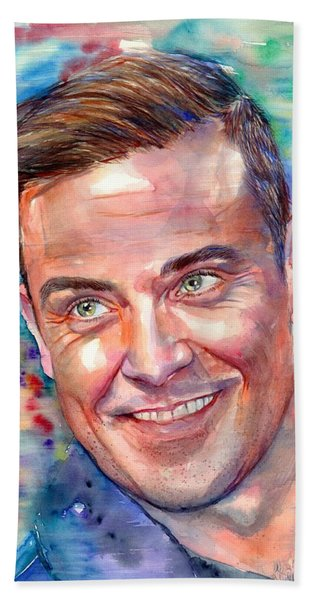 Robbie Williams Portrait Beach Towel