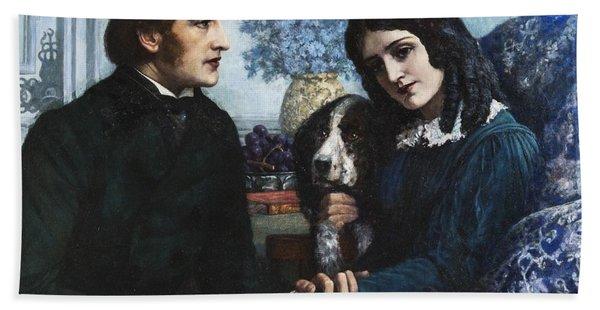 Robert Browning Visits Elizabeth Barrett At 50 Wimpole Street Beach Towel