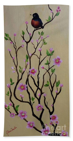 Robin And Spring Blossoms Beach Towel