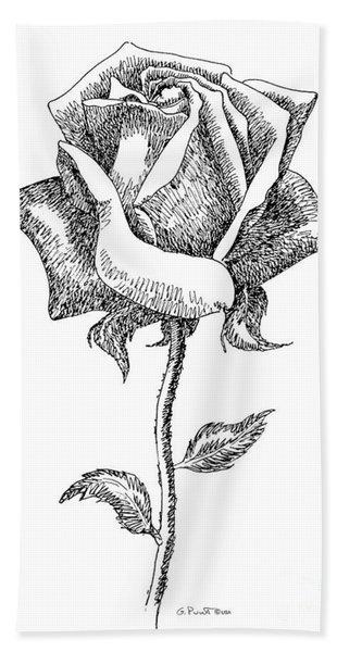 Rose Drawings Black-white 5 Beach Towel