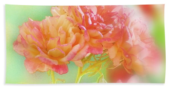 Roses In Threes Beach Towel