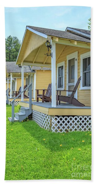 Row Of Vintage Yellow Rental Cottages Beach Towel