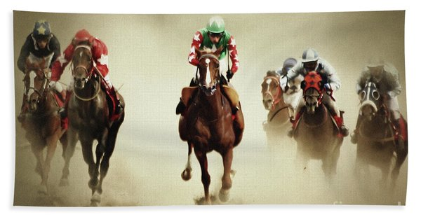 Running Horses In Dust Beach Towel