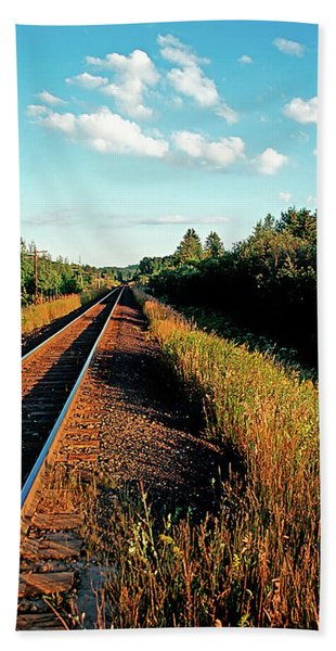 Rural Country Side Train Tracks Beach Towel