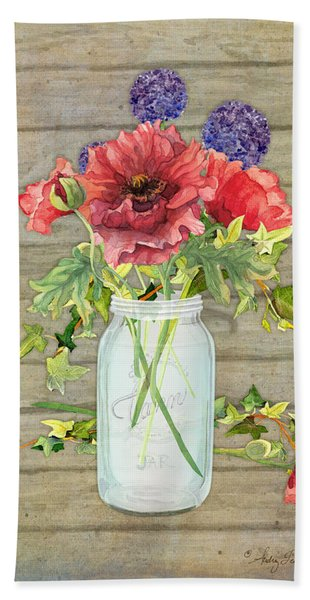 Rustic Country Red Poppy W Alium N Ivy In A Mason Jar Bouquet On Wooden Fence Beach Towel