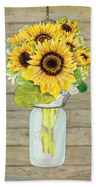 Rustic Country Sunflowers In Mason Jar Beach Towel