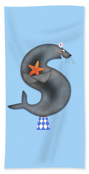 S Is For Seal And Starfish Beach Towel