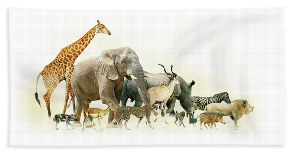 Safari Animals Walking Side Horizontal Banner Beach Towel