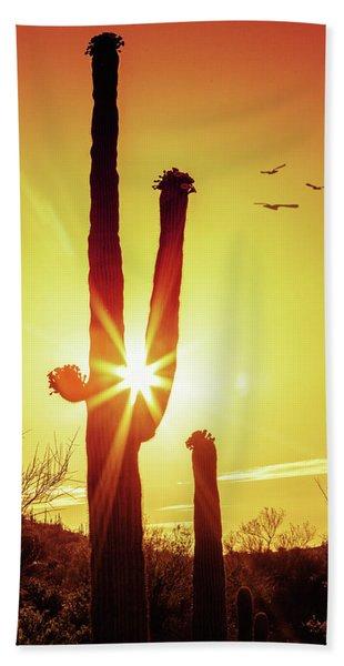 Saguaro Cactus Silhouette At Sunrise Beach Towel