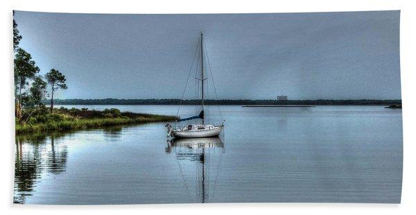 Sailboat Off Plash Beach Sheet