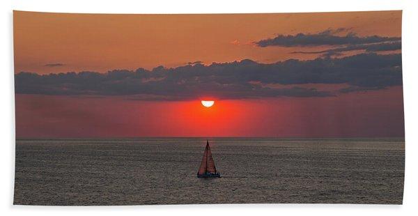 Sailboat Sunset Beach Towel