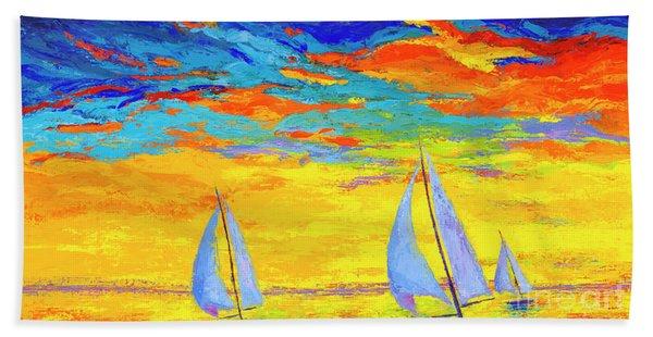 Sailboats At Sunset, Colorful Landscape, Impressionistic Art Beach Sheet