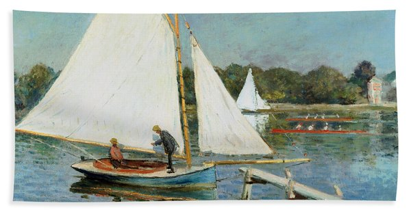 Sailing At Argenteuil Beach Towel