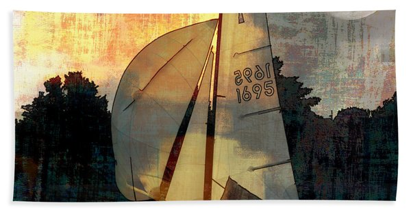 Sailing Into The Sunset Beach Towel