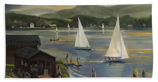 Sailing At Lake Morey Vermont Beach Towel