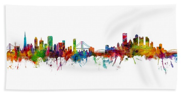 San Francisco And Pittsburgh Skylines Mashup Beach Sheet