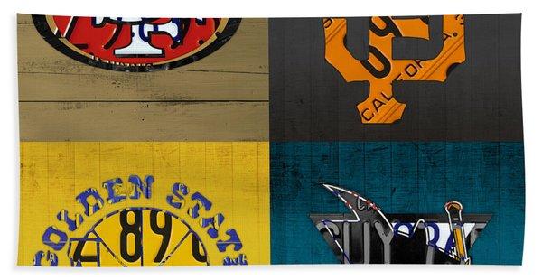 San Francisco Sports Fan Recycled Vintage California License Plate Art 49ers Giants Warriors Sharks Beach Towel
