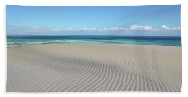Sand Dune Ripples And The Ocean Beyond Beach Towel