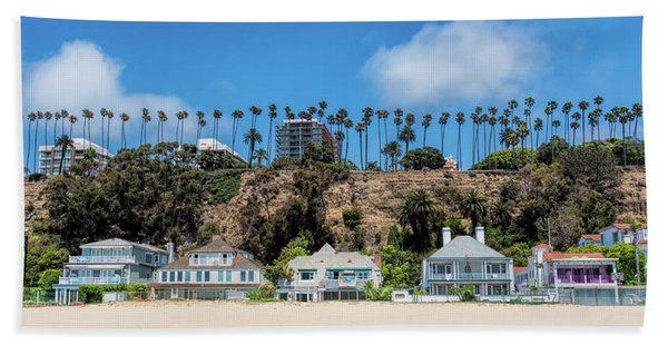 Beach Towel featuring the photograph Santa Monica Beach Front by Michael Hope