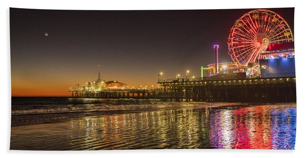 Beach Towel featuring the photograph Santa Monica Pier After Sunset by Michael Hope