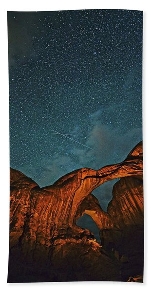 Satellites Crossing In The Night Beach Towel