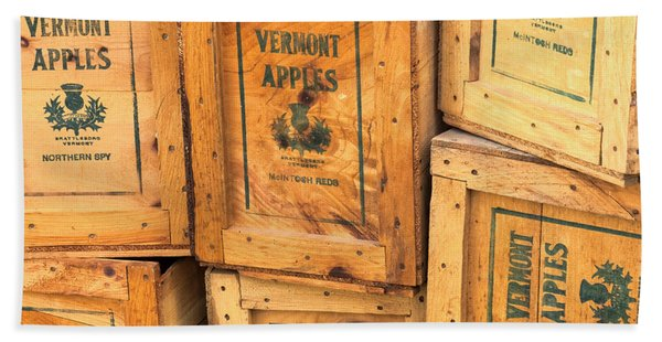 Beach Towel featuring the photograph Scott Farm Apple Boxes by Tom Singleton