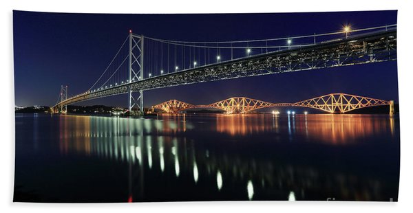 Scottish Steel In Silver And Gold Lights Across The Firth Of Forth At Night Beach Sheet