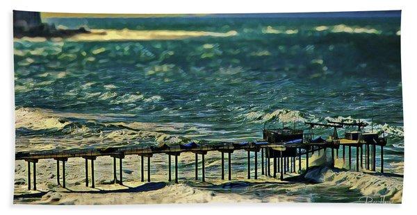 Scripps Pier Winter Storm Beach Towel