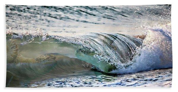 Sea Turtles In The Waves Beach Towel