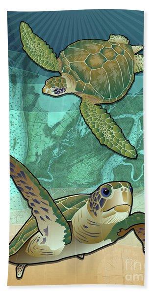 Sea Turtles Near Beaufort, Sc Beach Towel