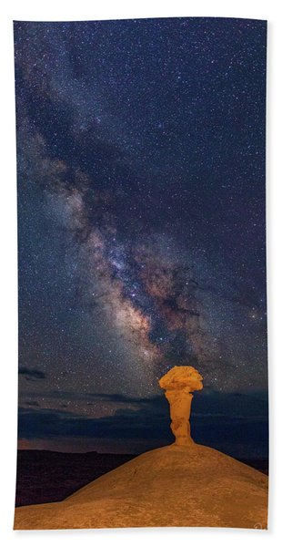 Secret Spire And The Milky Way Vertical Beach Towel