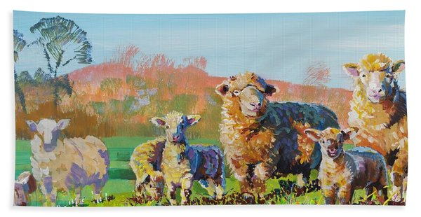 Sheep And Lambs In Devon Landscape Bright Colors Beach Sheet