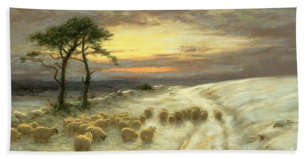 Sheep In The Snow Beach Towel