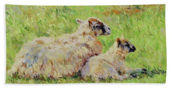 Sheep In The Spring Time,la Vie Est Belle Beach Sheet