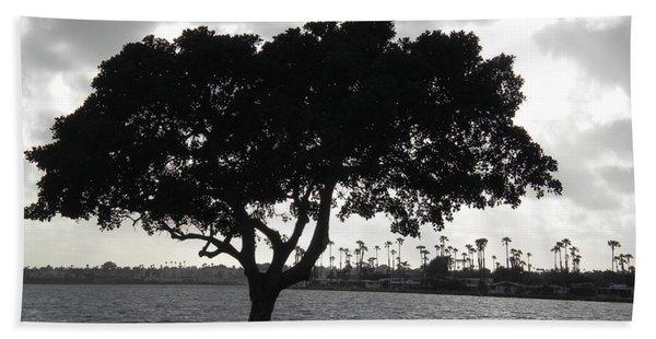 Silhouette Of Tree Beach Towel