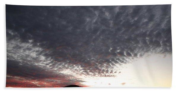 Silhouette Of Uluru At Sunset Beach Towel